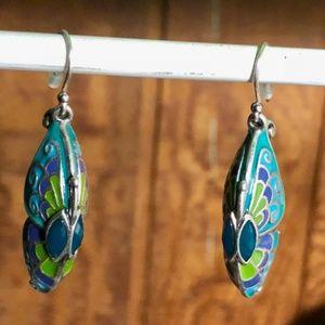 Jewelry - Beautiful Butterfly Enamel Earrings with Teal Gems